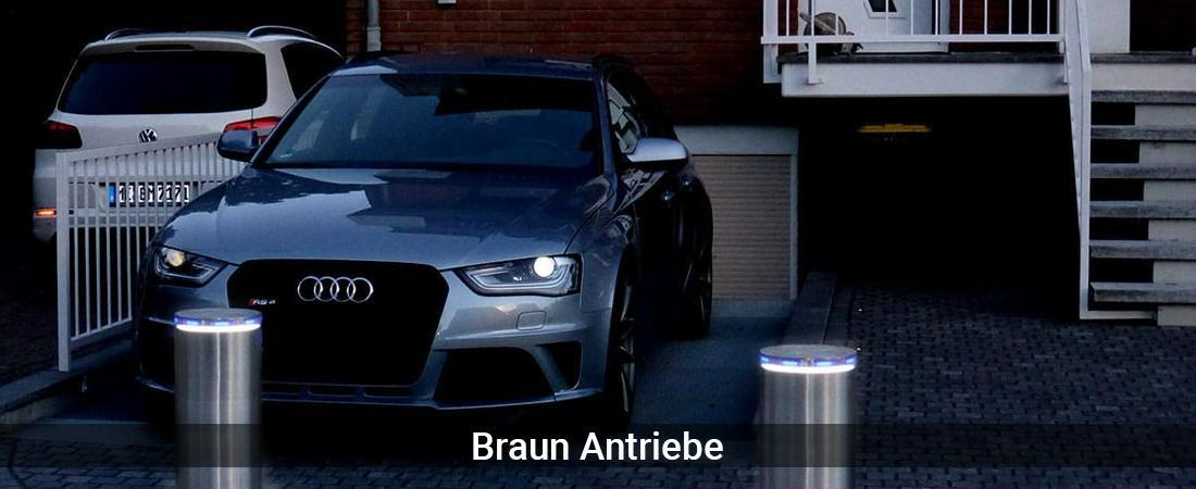 Absperrpfosten für Düsseldorf - Braun-Antriebe: Poller versenkbarVersenkbare Poller, Automatikpoller
