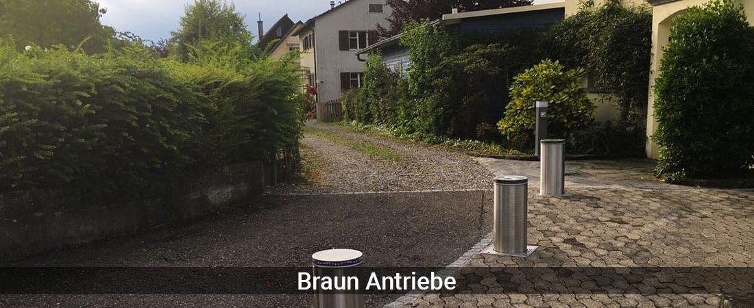 Absperrpfosten Deutschland - Braun-Antriebe: Versenkbare PollerPoller versenkbar, Deckenlifte
