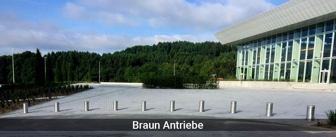 Absperrpoller Schleswig-Holstein - Braun-Antriebe: Poller versenkbarVersenkbare Poller, Sicherheitspoller