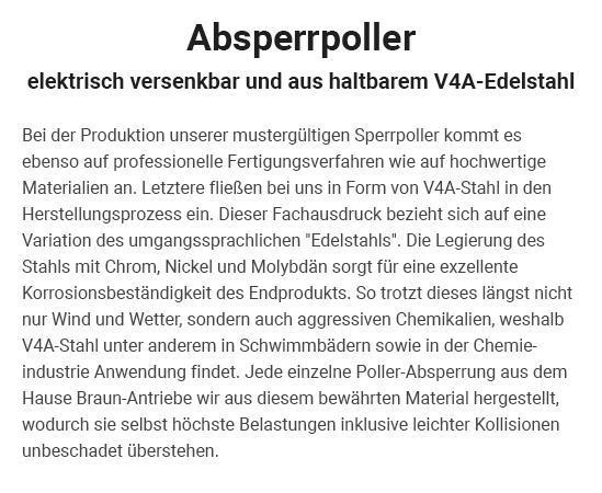 Edelstahlpoller in 50321 Brühl